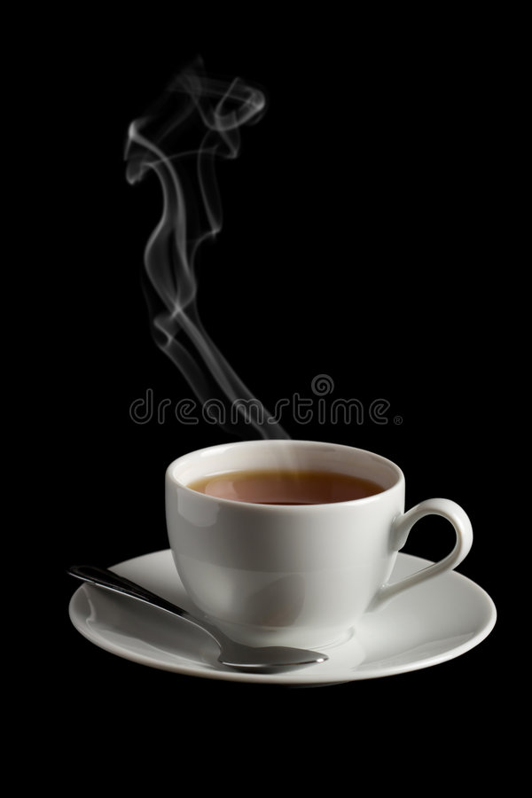 Cup of hot tea with steam isolated stock photo