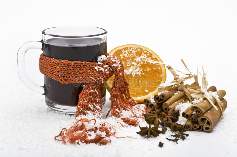 Cup of hot wine stock images