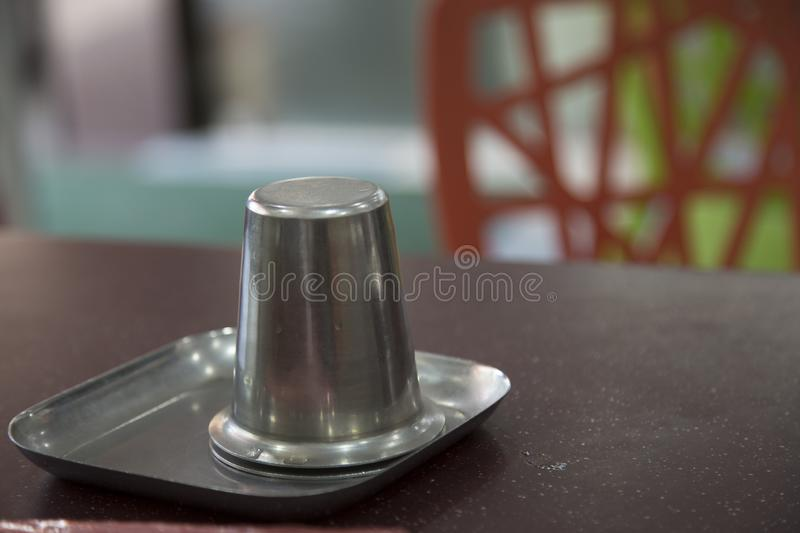 Cup. Hotel, drinkingwater, table, meas stock photo