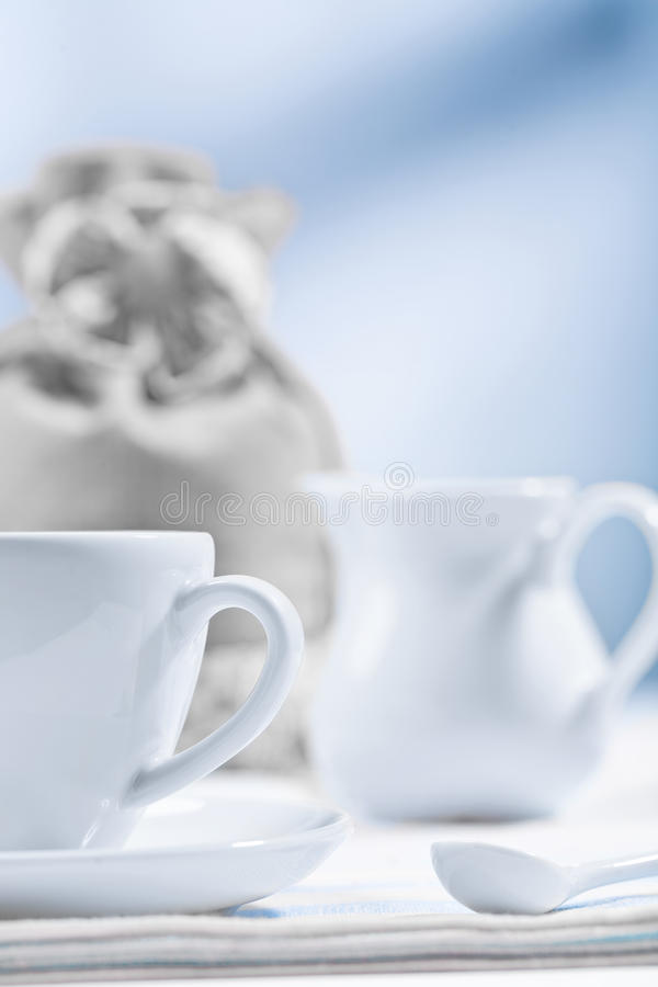 Download Cup jug spoon sack stock photo. Image of cappuccino, blue - 24624364
