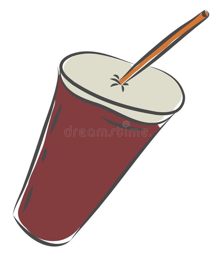Juice in a disposable plastic red party cup with lid and straw vector or color illustration royalty free illustration