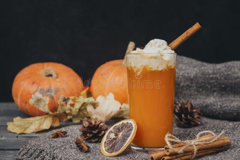 1 Cup Kürbissaft mit Sahne und Zimt, frische ganze Kürbisse, eine Scheibe getrocknete Orange, Zapfen, trocken gefallene Blätter stockbilder