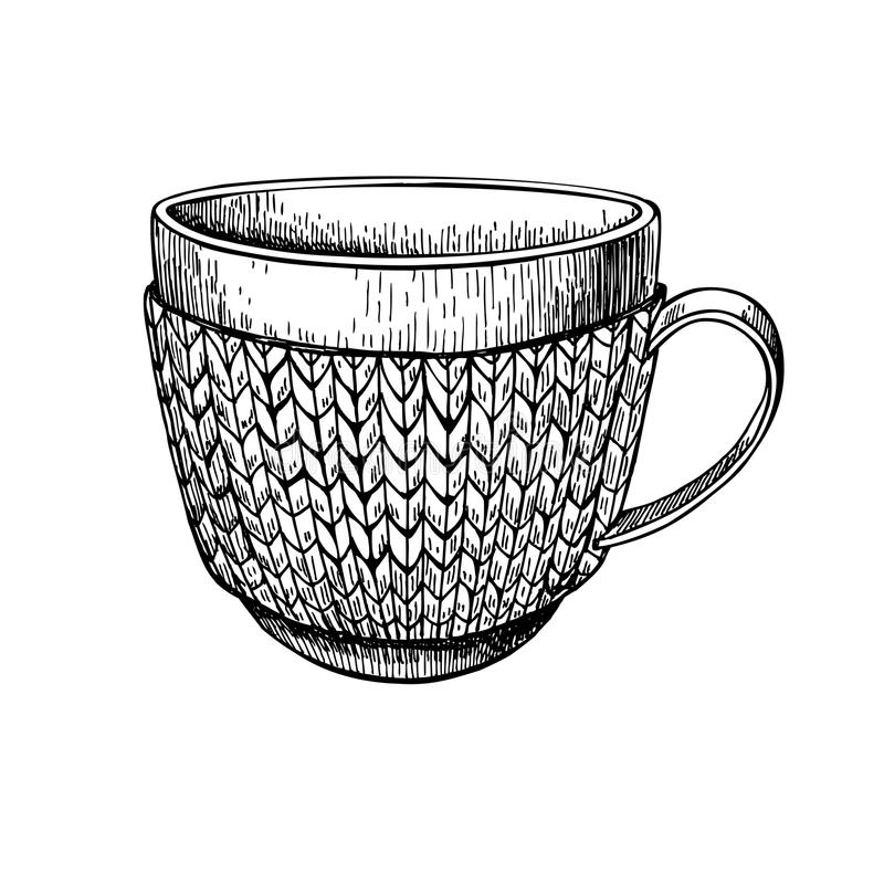 Cup in knitted cozy sweater. Hand drawn illustration. Warm coffee or tea drink in cold weather. Christmas sketch royalty free illustration