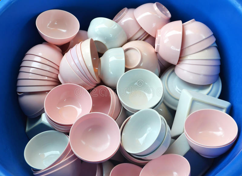 Cup many. Ceramic cup, Many White and pink royalty free stock images