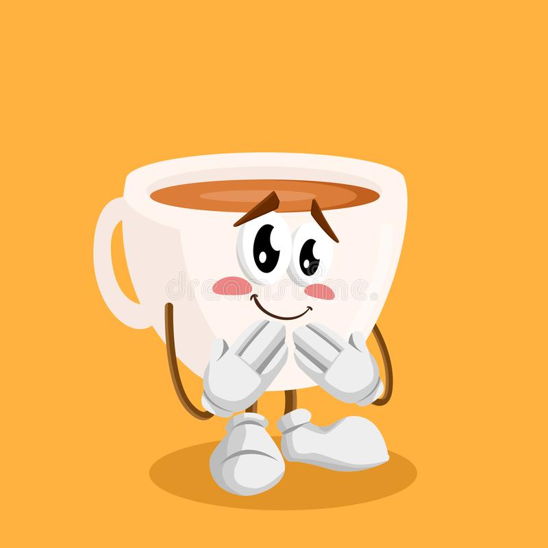 Cup mascot and background ashamed pose. With flat design style for your mascot branding vector illustration