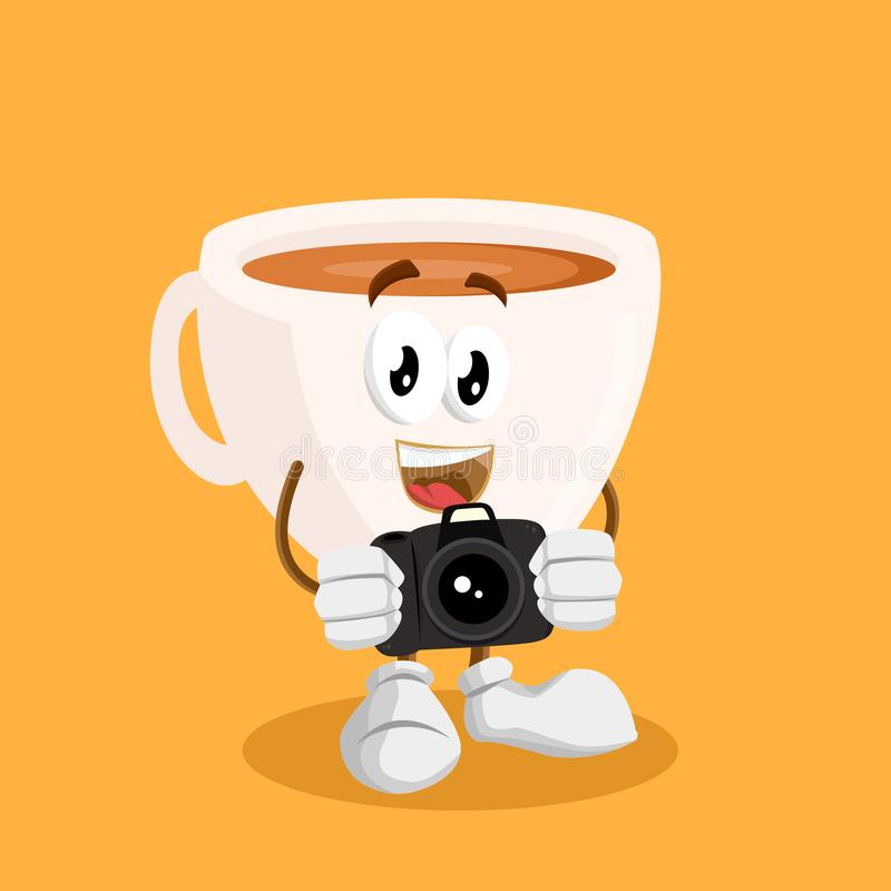 Cup mascot and background with camera pose. With flat design style for your mascot branding vector illustration