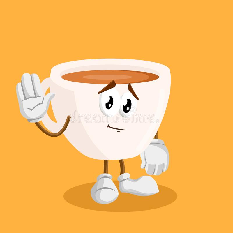 Cup mascot and background with goodbye pose. With flat design style for your mascot branding stock illustration