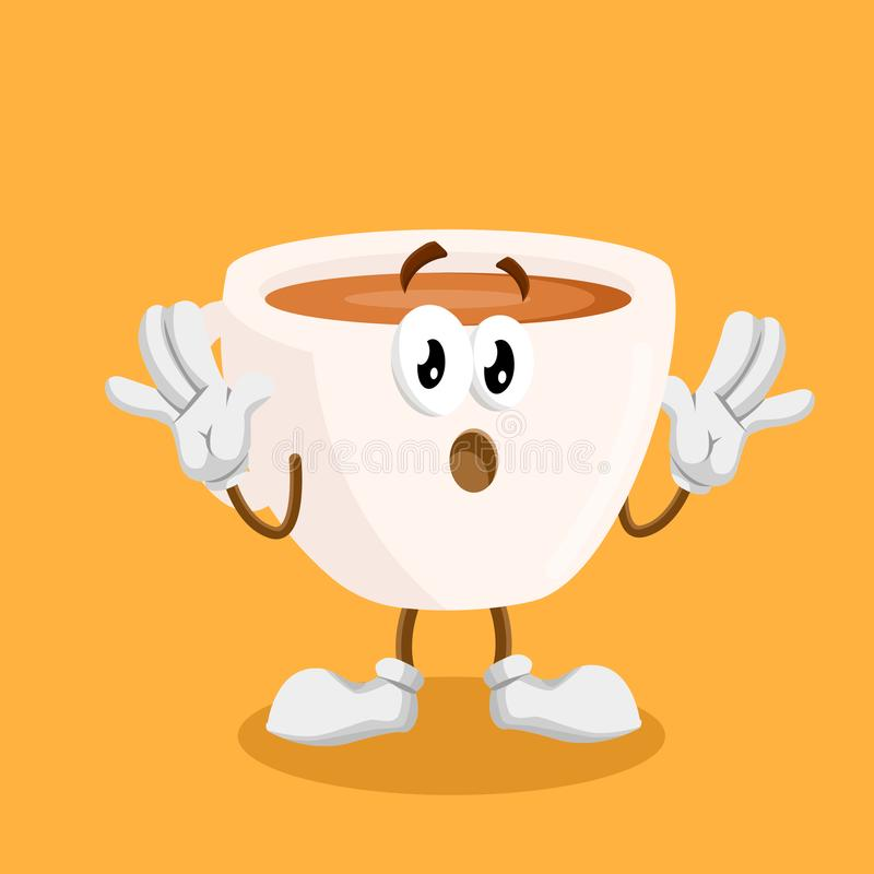 Cup mascot and background surprise pose. With flat design style for your mascot branding stock illustration