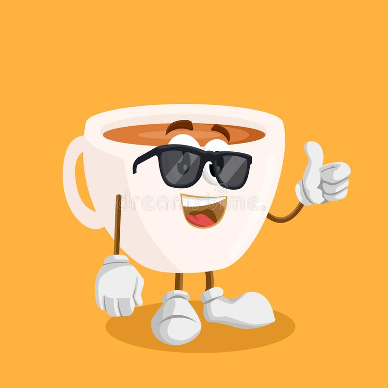 Cup mascot and background thumb pose. With flat design style for your mascot branding stock illustration