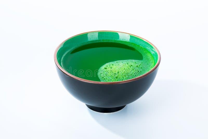 Cup of matcha green tea stock images