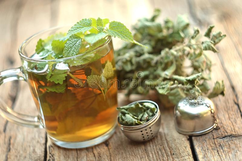 Cup of melissa tea. On wooden background royalty free stock images
