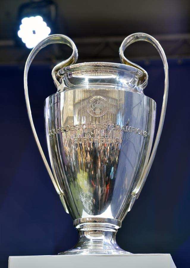 The cup of the men`s UEFA Champions League. Kyiv / Ukraine - 21 April, 2018: The ceremony to hand over the cup of the men`s UEFA Champions League to Kyiv stock images