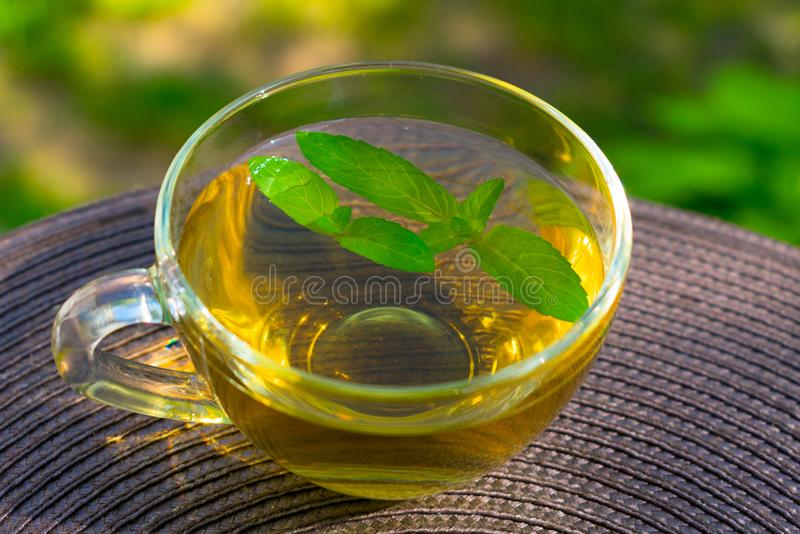 A cup of mint tea with mint leaves. On the table stock images