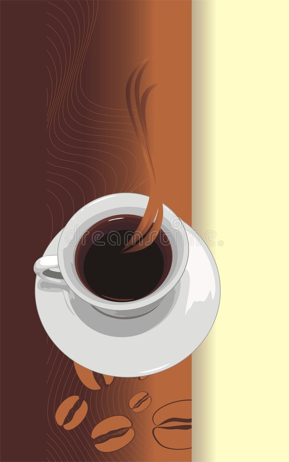 Cup mit Kaffee. Abstrakter Hintergrund für die Verpackung lizenzfreie abbildung