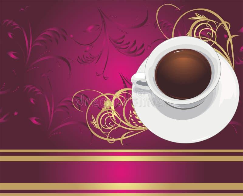 Cup mit Kaffee auf dem dekorativen backgroun vektor abbildung