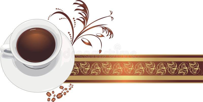 Cup mit Kaffee auf dem dekorativen Farbband lizenzfreie abbildung