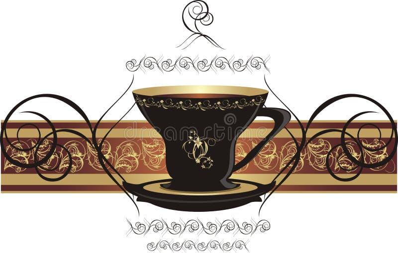 Cup mit Kaffee und dekorativem Farbband lizenzfreie abbildung