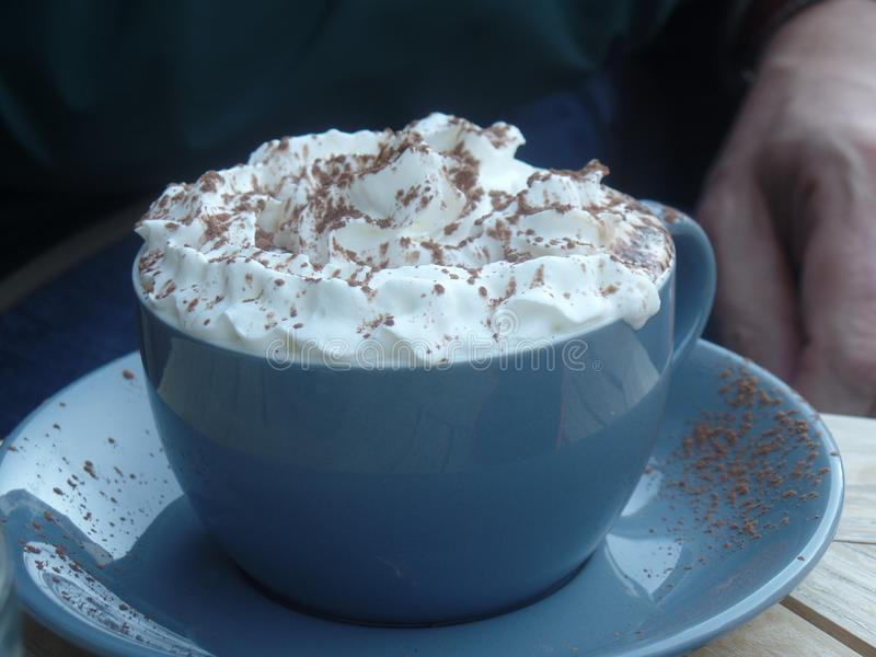 A cup of mocha coffee with whipped cream royalty free stock photos