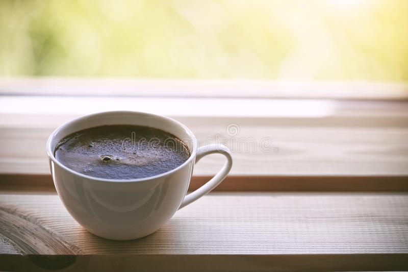 Cup of morning coffee. Cup of fresh morning coffee stock photography