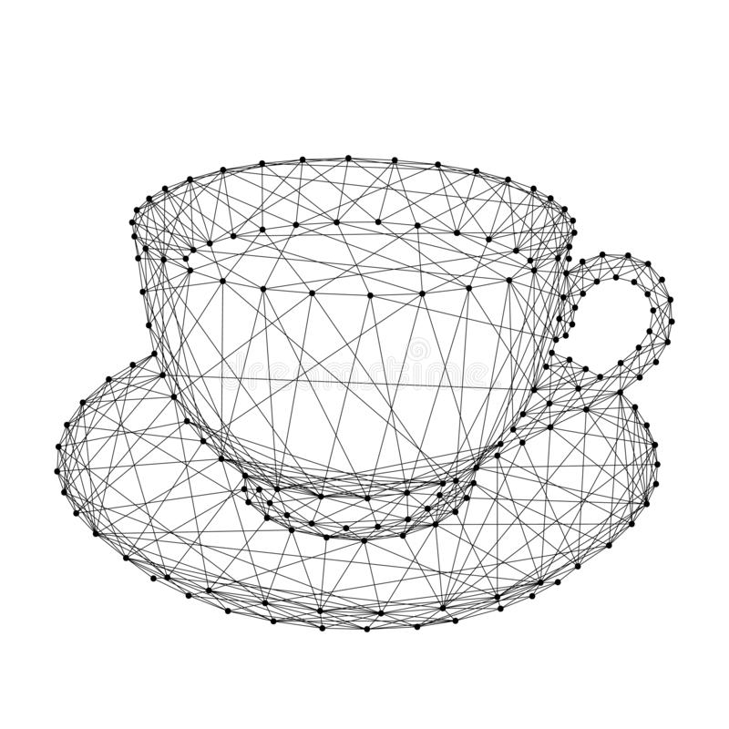 Cup mug with coffee or tea on a saucer from abstract futuristic royalty free illustration