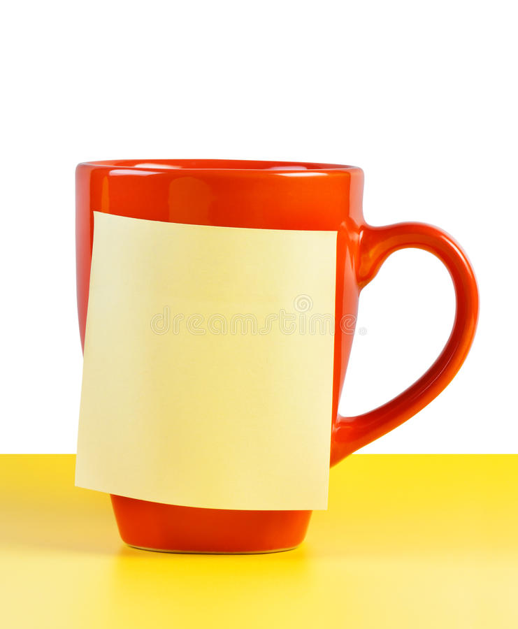 Download Cup with note paper stock photo. Image of close, break - 23503414
