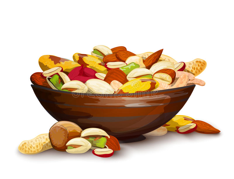 Cup With Nuts. Fresh raw food mix composition vector illustration stock illustration