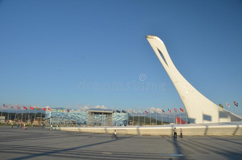 The cup Olympic flame `Firebird` stock image