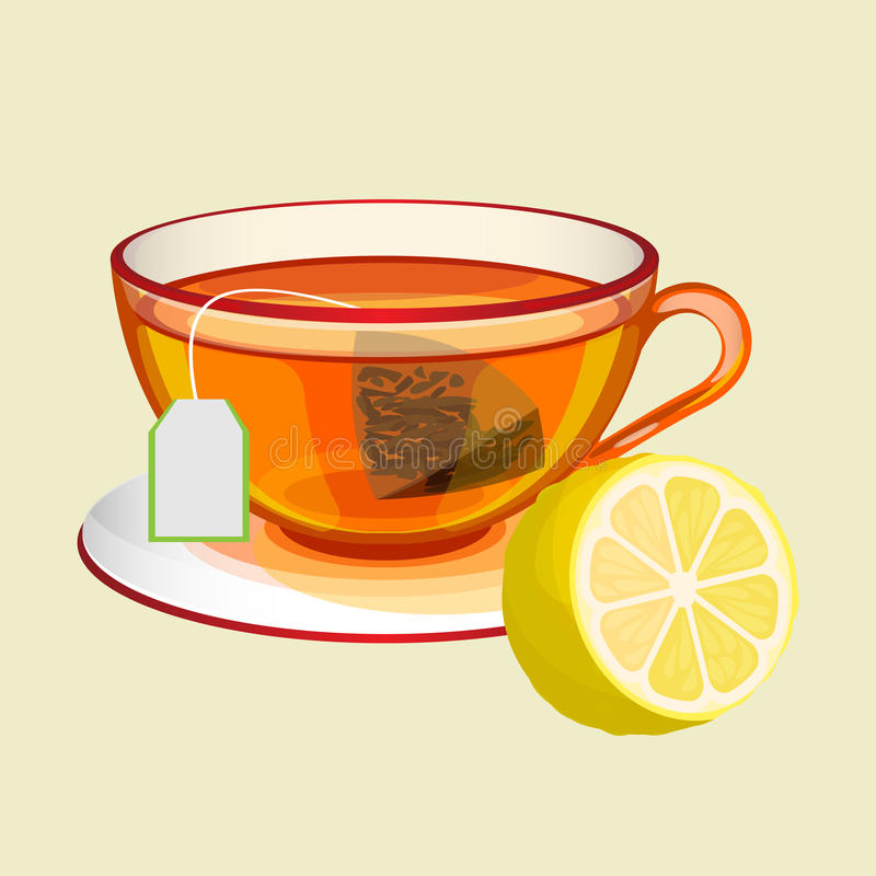 Free Cup On Saucer With Tea Bag, Water And Fresh Lemon Stock Photo - 90354070