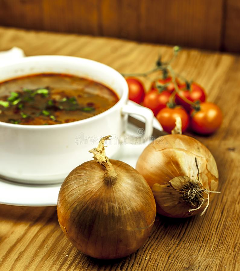 Cup of onion soup with two onions stock photos
