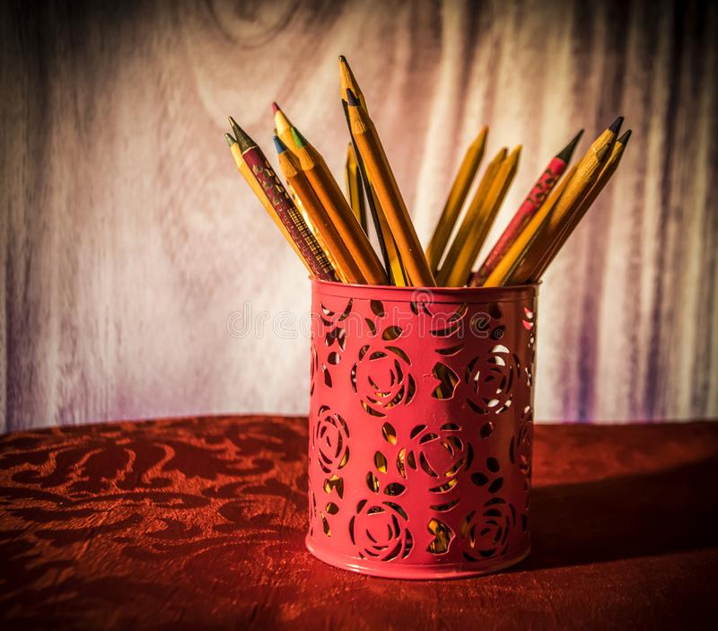 A cup of Pencils royalty free stock image