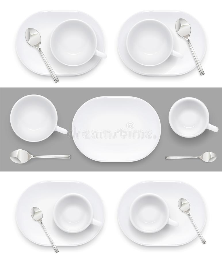 Cup and plate for coffee tea. Ceramic dishes drink. Vector illustration. stock illustration