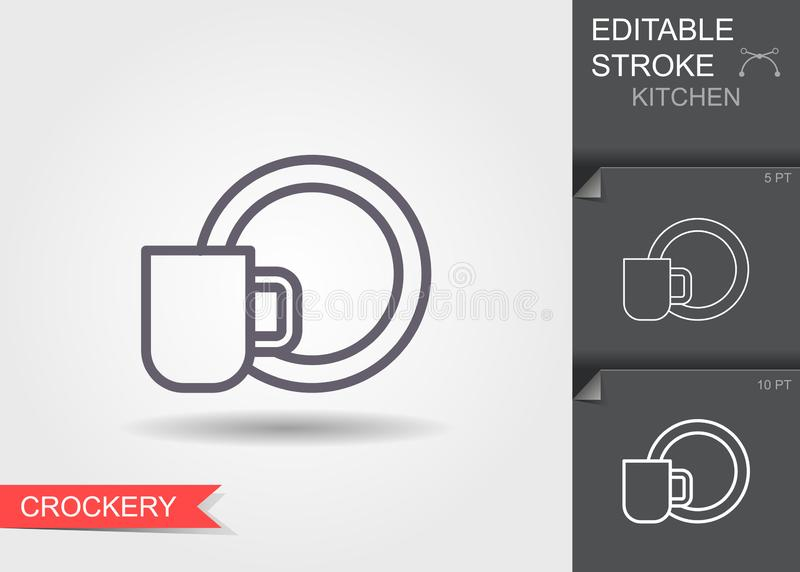 Cup and a plate. Line icon with editable stroke with shadow. Cup and a plate. Outline icon with editable stroke. Linear symbol of the kitchen and cooking with royalty free illustration