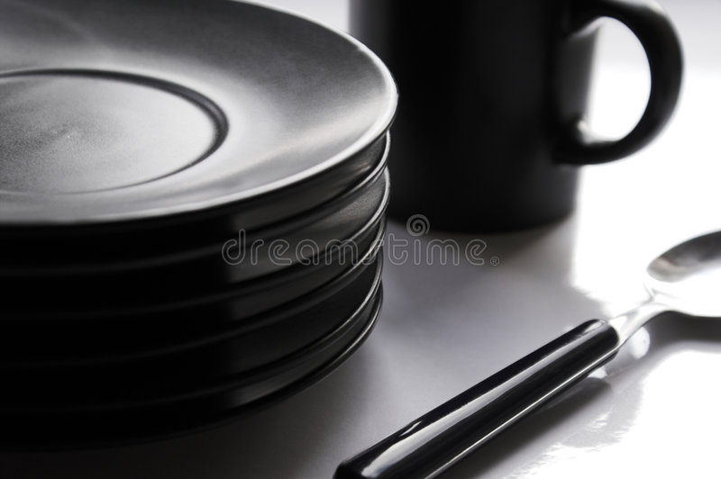 Cup, plates, tea-spoon stock photo
