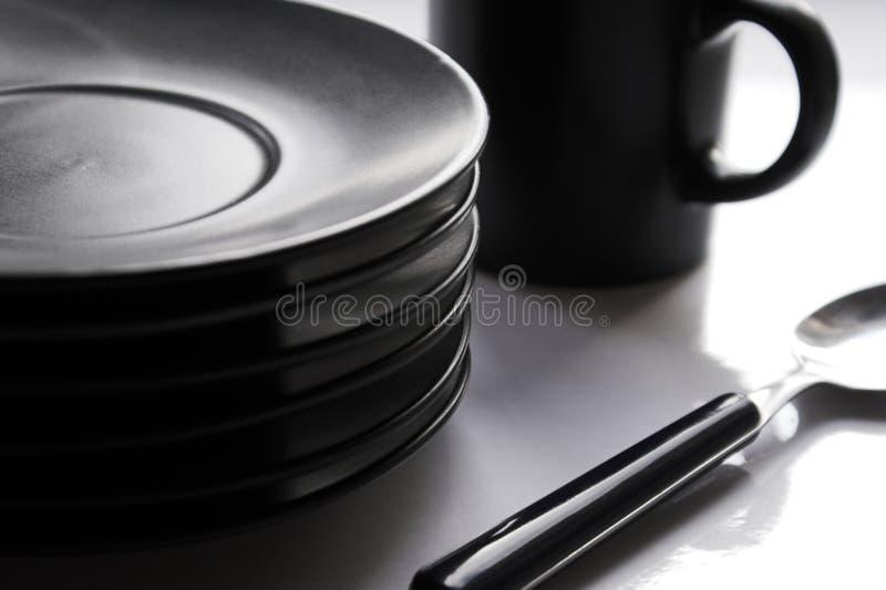 Cup, Platten, Teelöffel stockfoto
