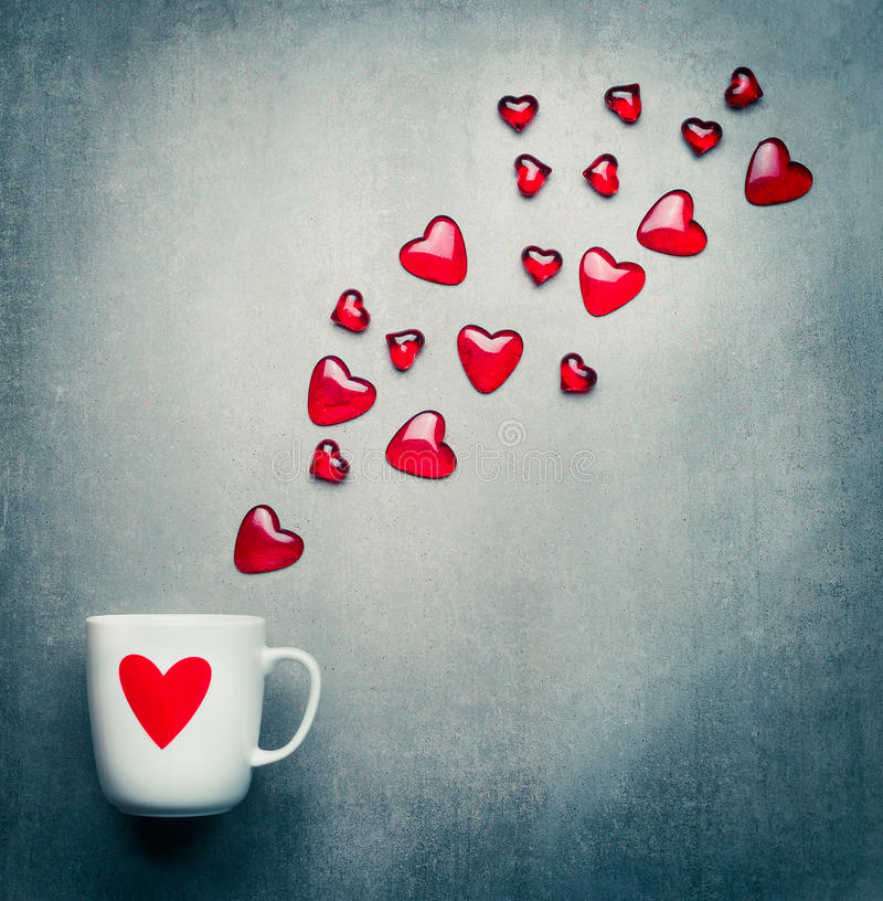 Cup With Red Heart And Flying Glass Hearts Romantic Love Symbols