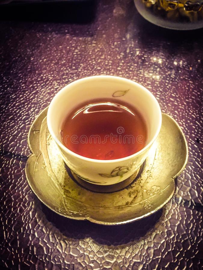 Cup of red tea royalty free stock photos