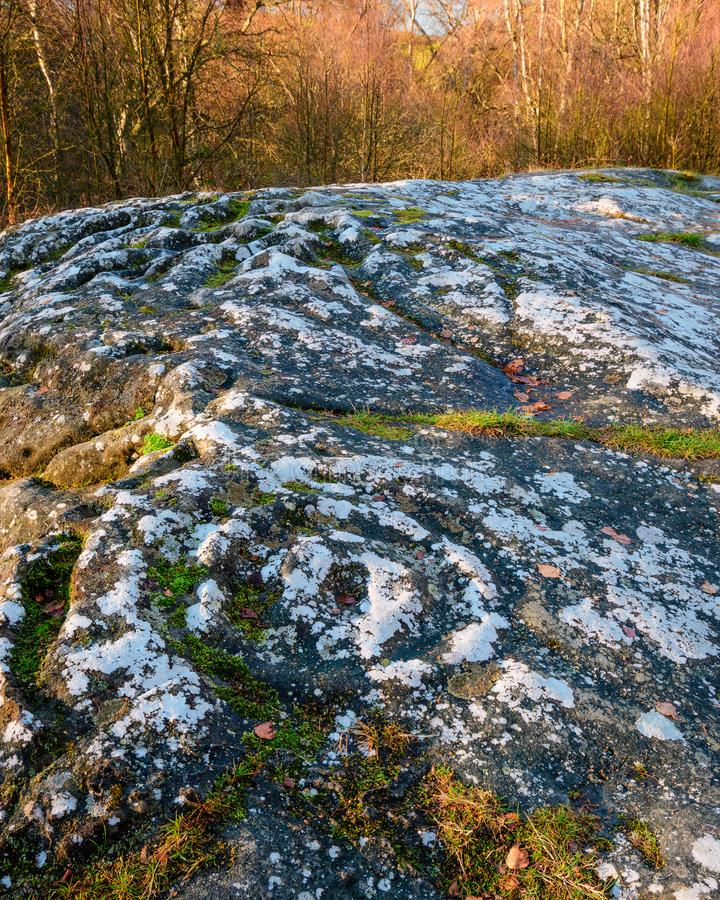 Cup and Ring marked Rock Art at Routin Lynn. This prehistoric Bronze Age rock art on the stone outcrop in northern Northumberland, known as both Roughting Linn stock image