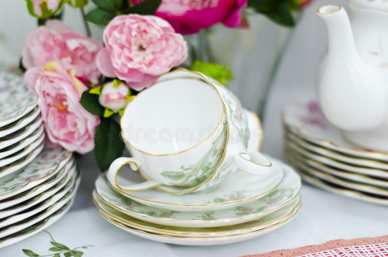 Cup saucer set royalty free stock images