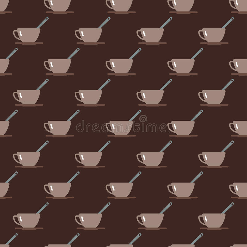 Cup seamless pattern vector. Tea cup vector illustration. Hot healthy drink relax eating seamless pattern. Fresh antioxidant herbal organic liquid. Refreshment stock illustration