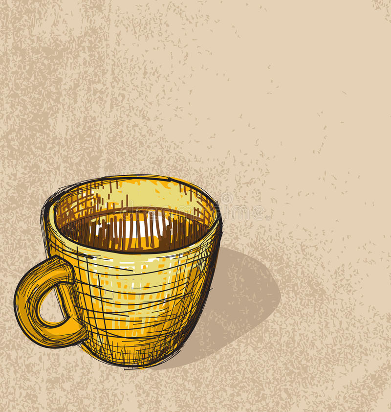 Cup. Sketching of one coffee cup vector illustration