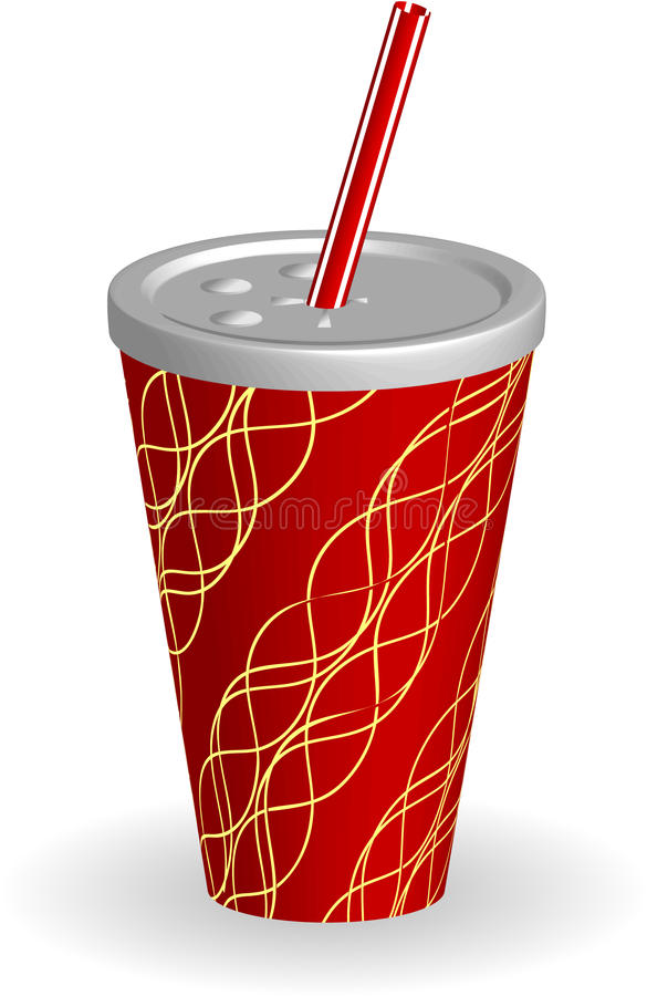 Cup of soda with striped straw royalty free illustration