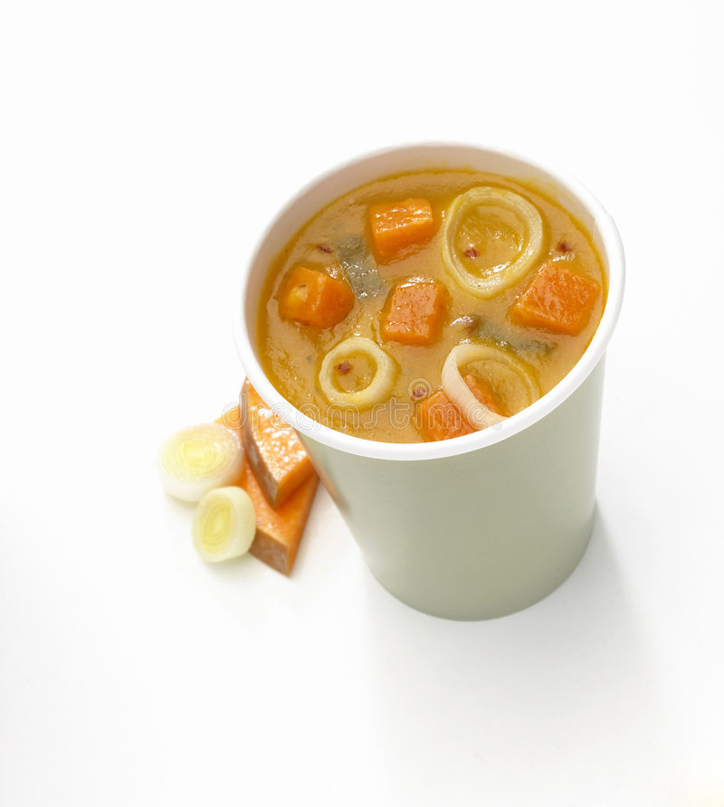 Cup of soup stock photography