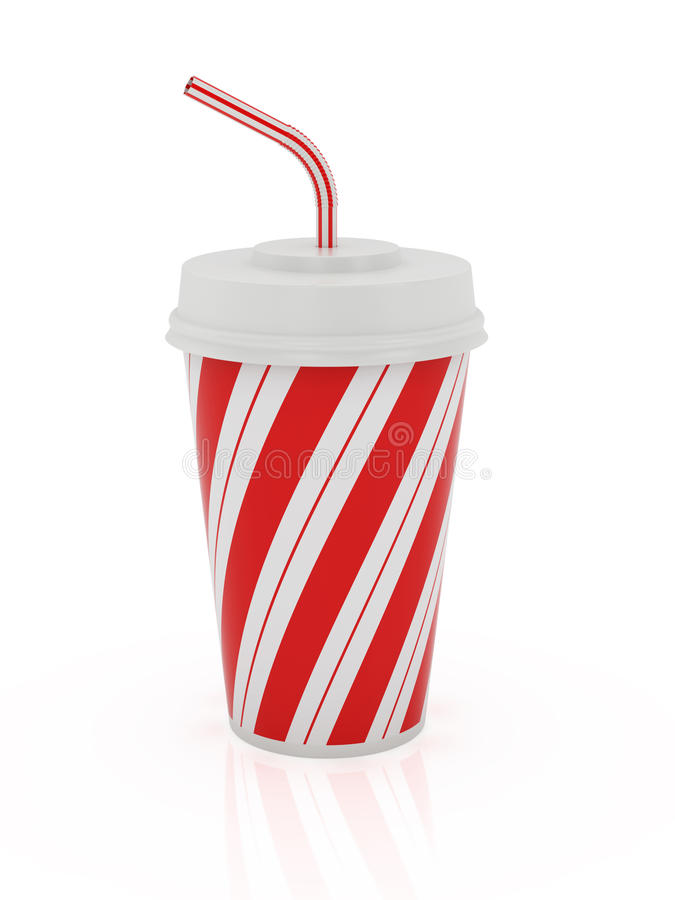Cup and straw. 3d render of plastic cup and straw isolated on a white background stock illustration