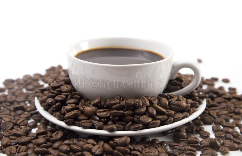 Cup of Strong Black Coffee. In a White Cup and Saucer royalty free stock image