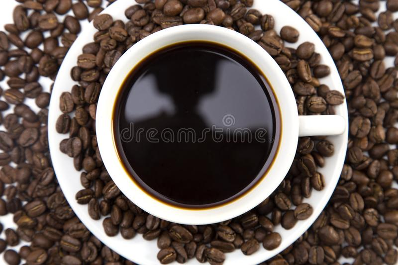 Cup of Strong Black Coffee. In a White Cup and Saucer stock images