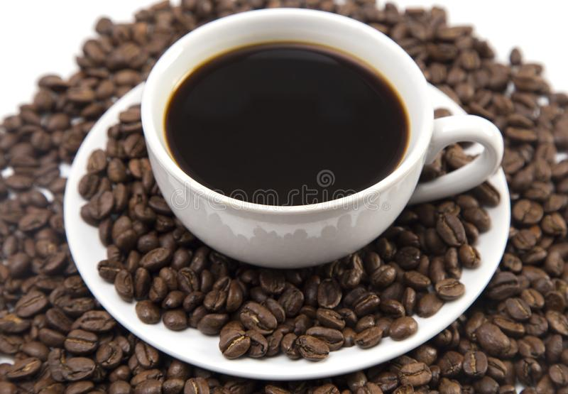 Cup of Strong Black Coffee. In a White Cup and Saucer stock photography