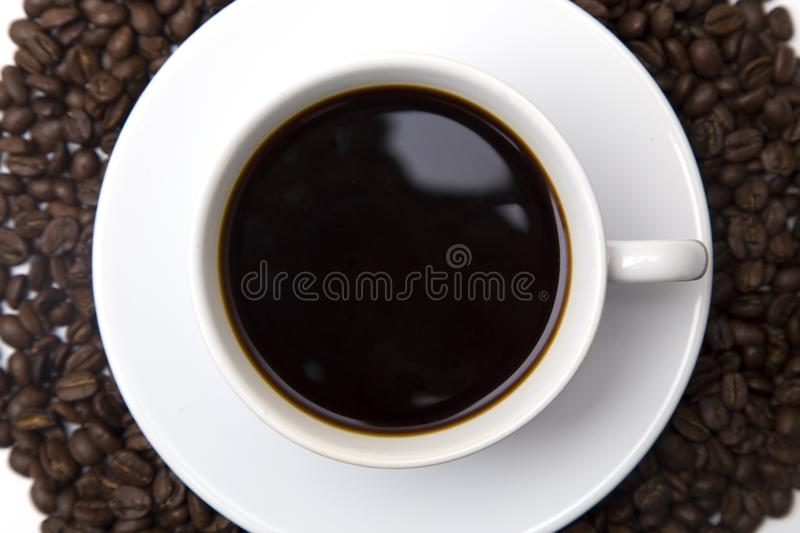 Cup of Strong Black Coffee. In a White Cup and Saucer royalty free stock images