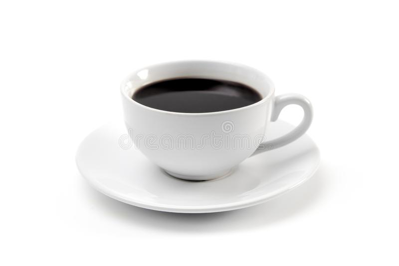 Cup of Strong Black Coffee. In a White Cup and Saucer stock image