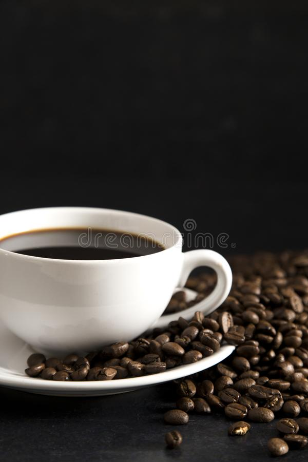 Cup of Strong Black Coffee. In a White Cup and Saucer royalty free stock photography