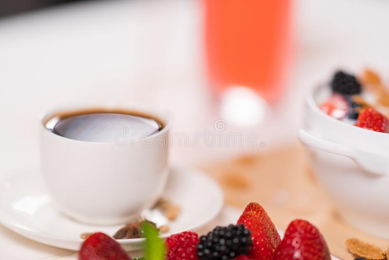 Cup of strong black espresso coffee for breakfast royalty free stock photo